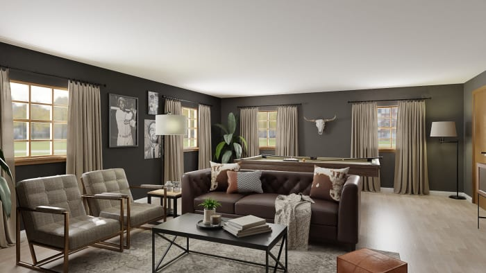 Adventure Into this Sleek, Urban Modern-Gentlemen Style Living Room Design View 2 By Spacejoy