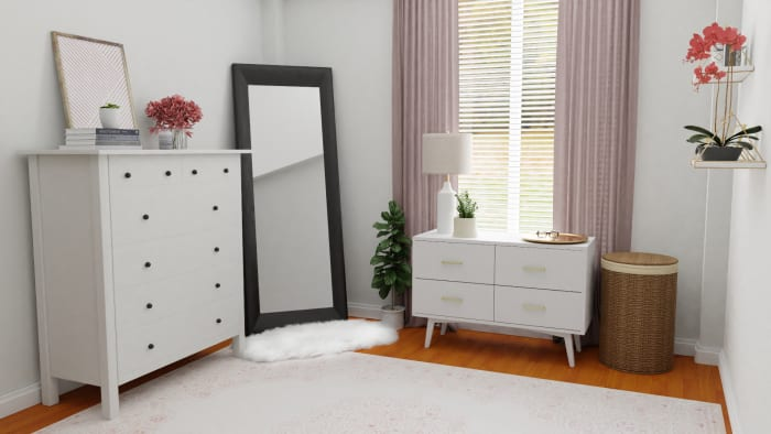 A Small Mid-Century Contemporary Bedroom Maximized with Style Design View 2 By Spacejoy