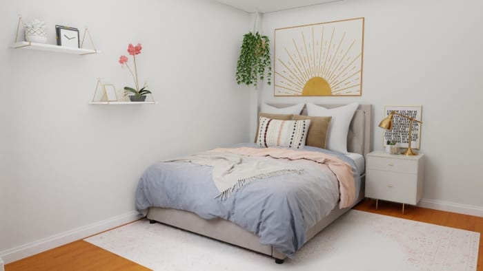 A Small Mid-Century Contemporary Bedroom Maximized with Style Design View 4 By Spacejoy