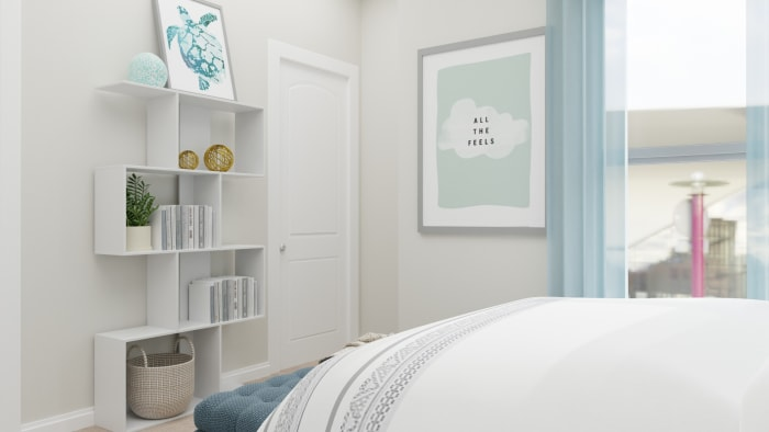 A Modern Transitional Kids Bedroom Designed for blue Dreams Design View 4 By Spacejoy