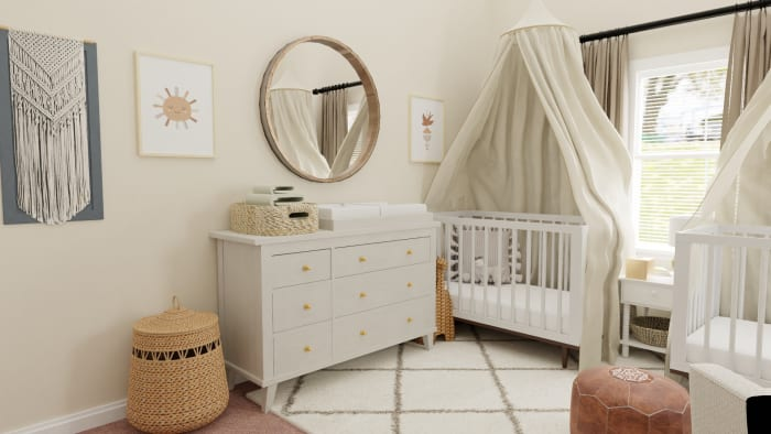 Airy Mid-Century Bohemian Gender-Neutral Nursery with Transitional Design Design View 2 By Spacejoy