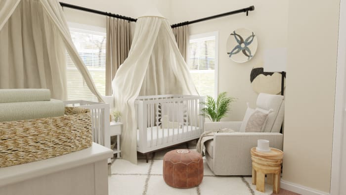 Airy Mid-Century Bohemian Gender-Neutral Nursery with Transitional Design Design View 3 By Spacejoy