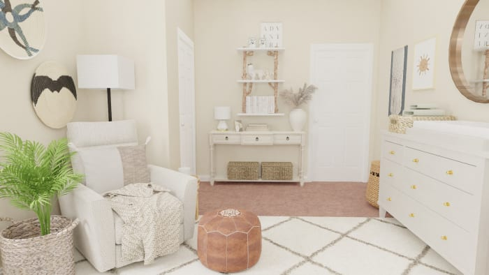 Airy Mid-Century Bohemian Gender-Neutral Nursery with Transitional Design Design View 4 By Spacejoy