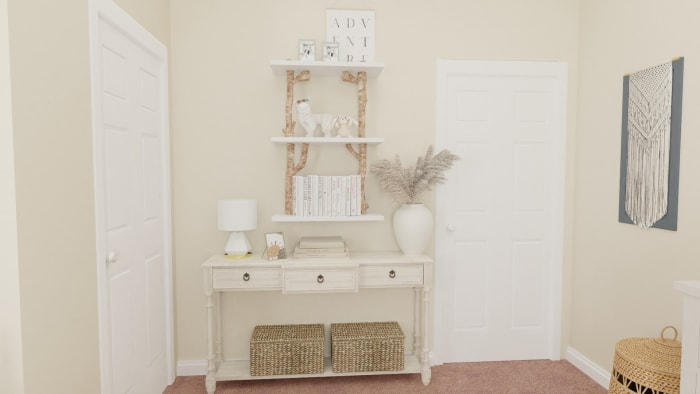 Airy Mid-Century Bohemian Gender-Neutral Nursery with Transitional Design Design View 5 By Spacejoy