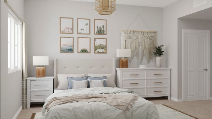 A Dreamy Bohemian Small Bedroom in Neutral Tones Design View 2 By Spacejoy
