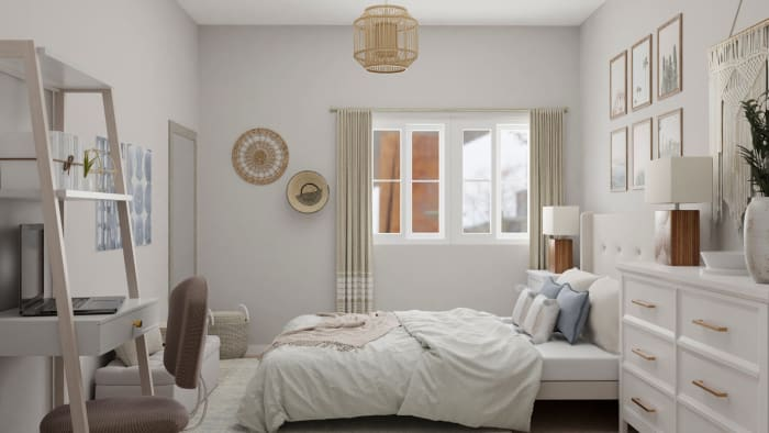 A Dreamy Bohemian Small Bedroom in Neutral Tones Design View 3 By Spacejoy