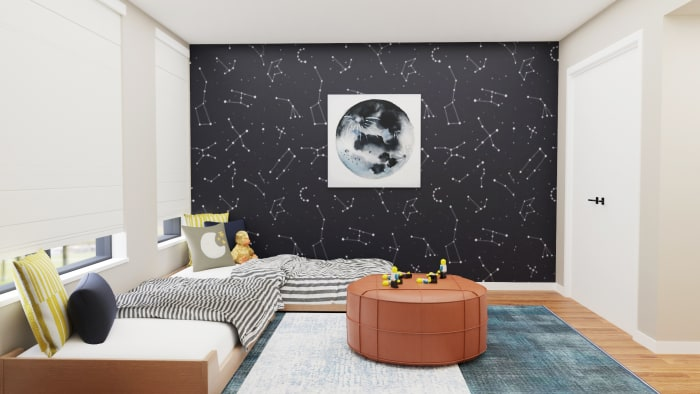 Astrology-Inspired Kid's Bedroom with Plenty of Play Area Design View 2 By Spacejoy