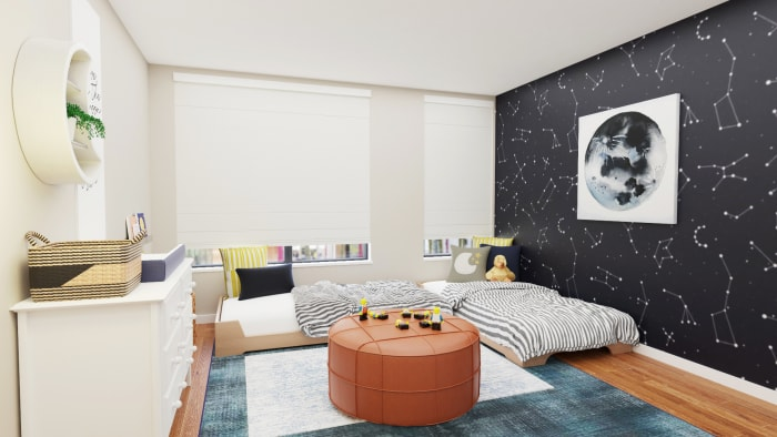 Astrology-Inspired Kid's Bedroom with Plenty of Play Area Design View 3 By Spacejoy