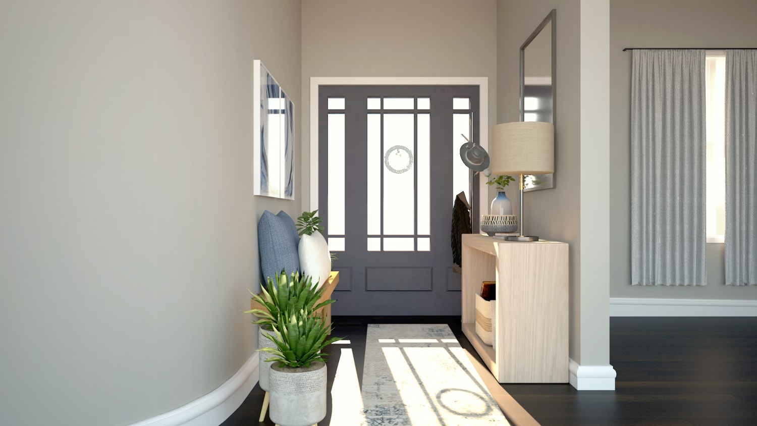 Inviting and Cozy: Modern Farmhouse Entryway Design By Spacejoy