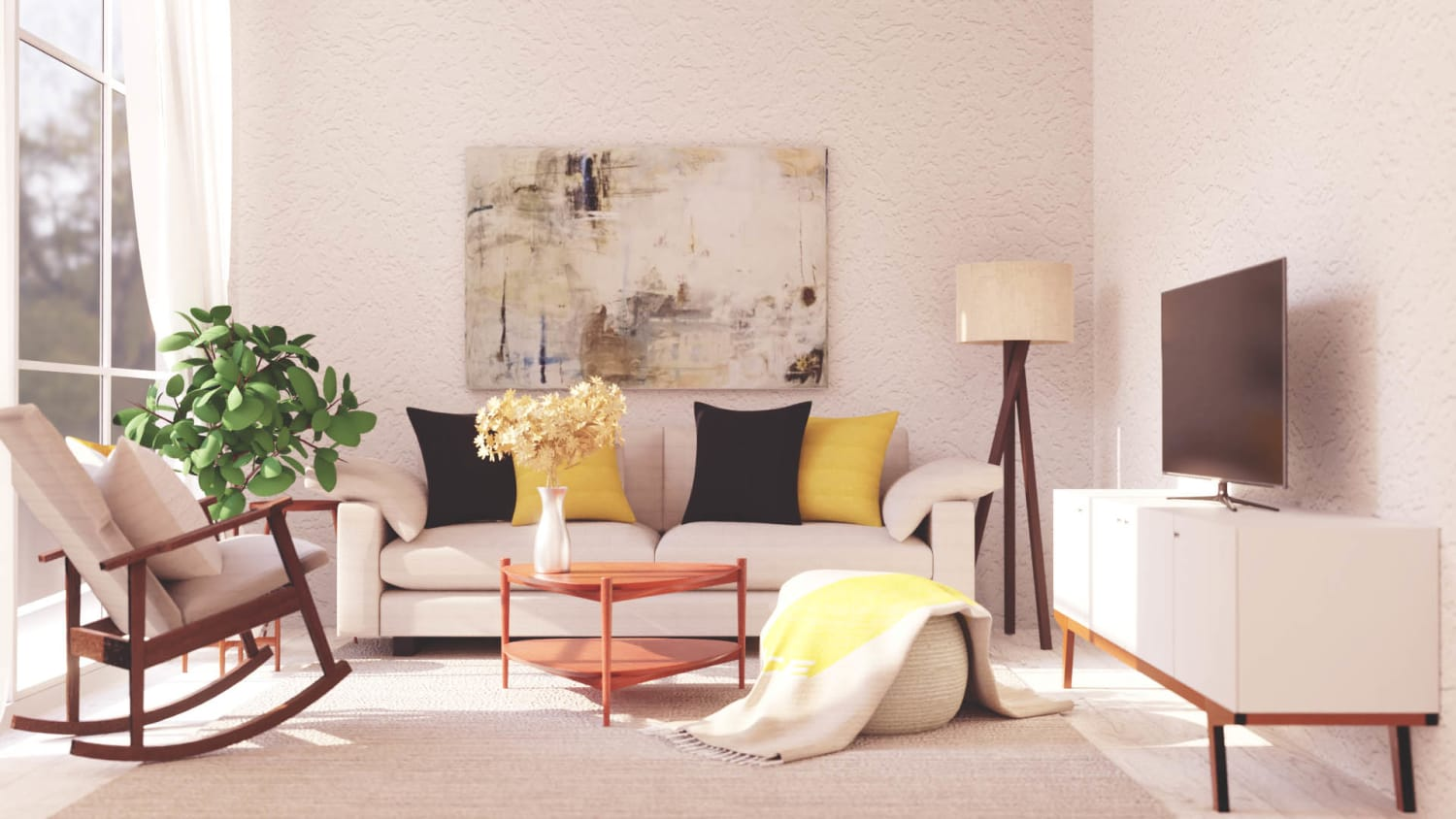 Mid Century Modern Living Room Design By Spacejoy