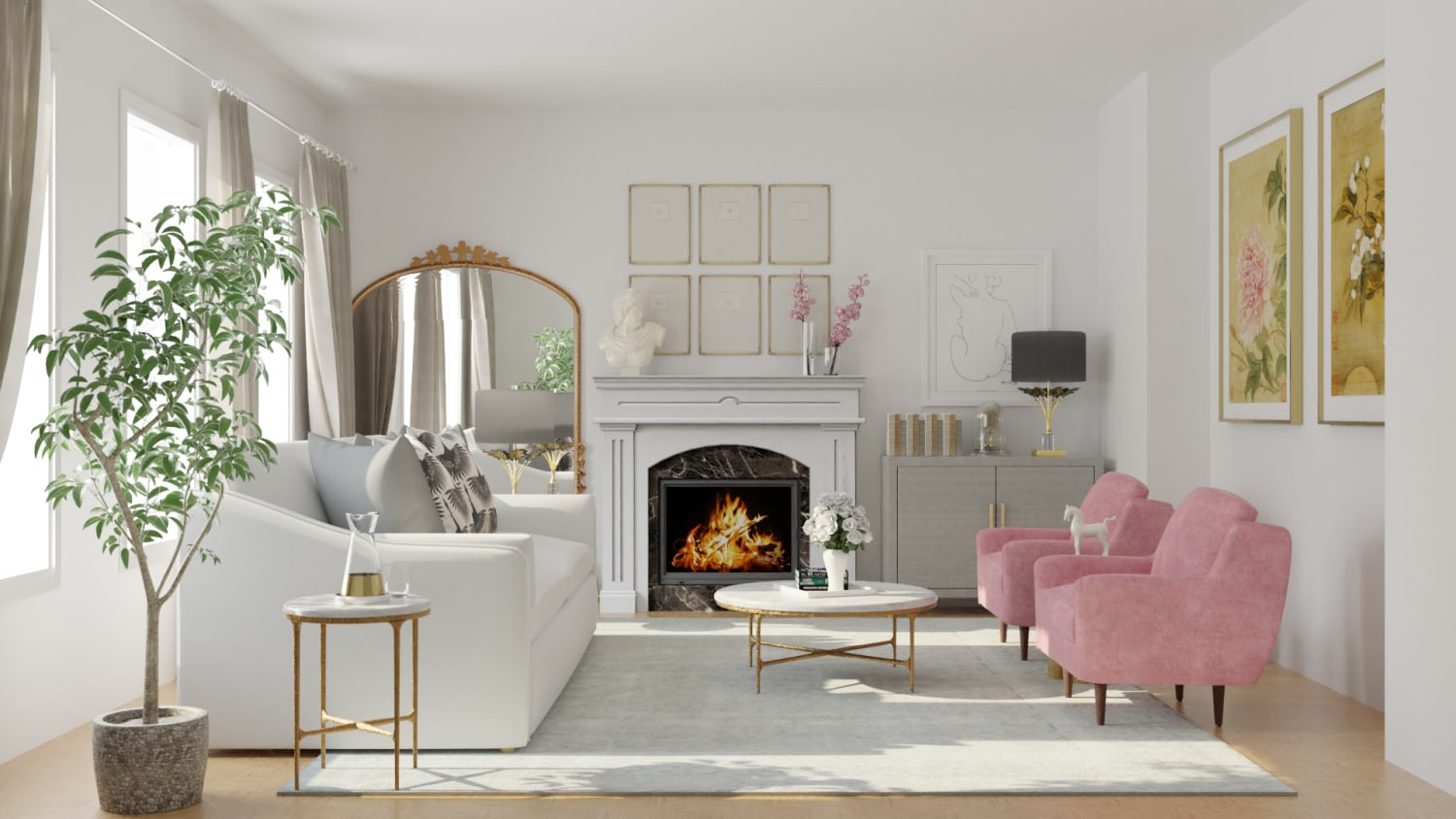 Get Inspiration From Feminine Classic Living Room Design By Spacejoy