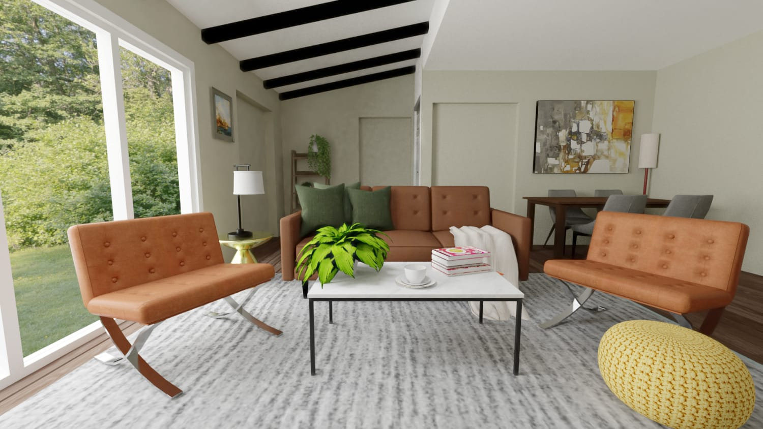 Mid-Century Classic Open Living Room with Dining Area Design By Spacejoy