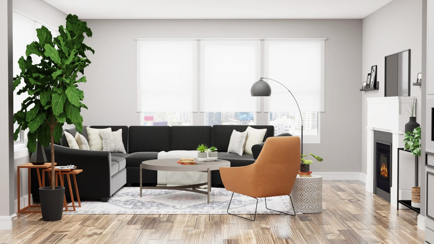 Mid-Century Modern Minimalist Living Room Design By Spacejoy