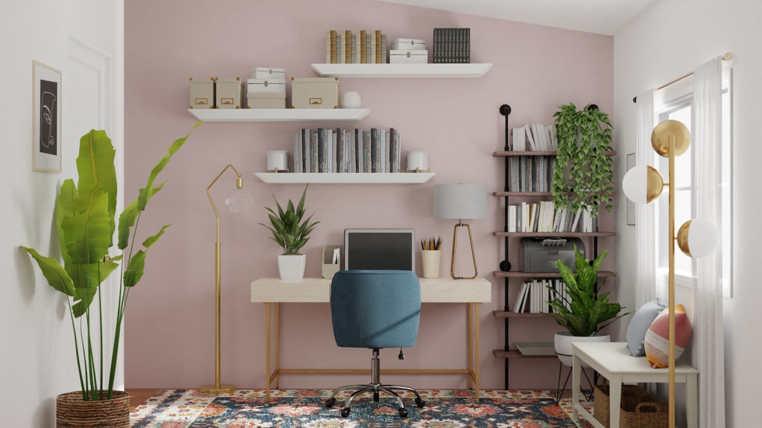 Extra Storage Space: Elegant Eclectic Office Design By Spacejoy