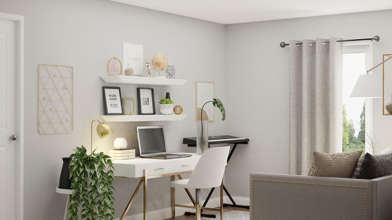 Balanced Black White Modern Minimalistic Home Office Design By Spacejoy