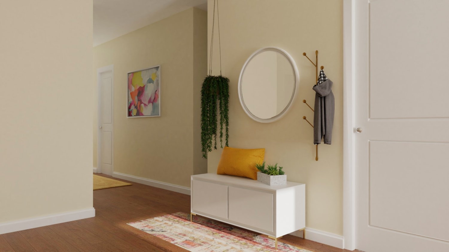Vibrant Multi-Color: Eclectic Glam Entryway Design By Spacejoy
