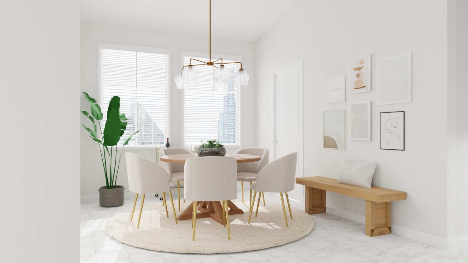 Gentle Neutrals: Mid-Century Minimalist Dining Room Design By Spacejoy