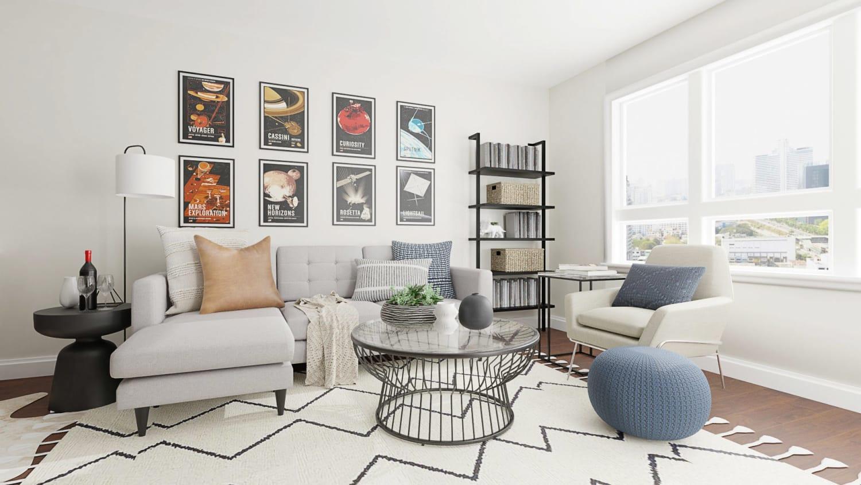 Stylish Mid Century Urban Living Room Design With Vintage Artwork By Spacejoy