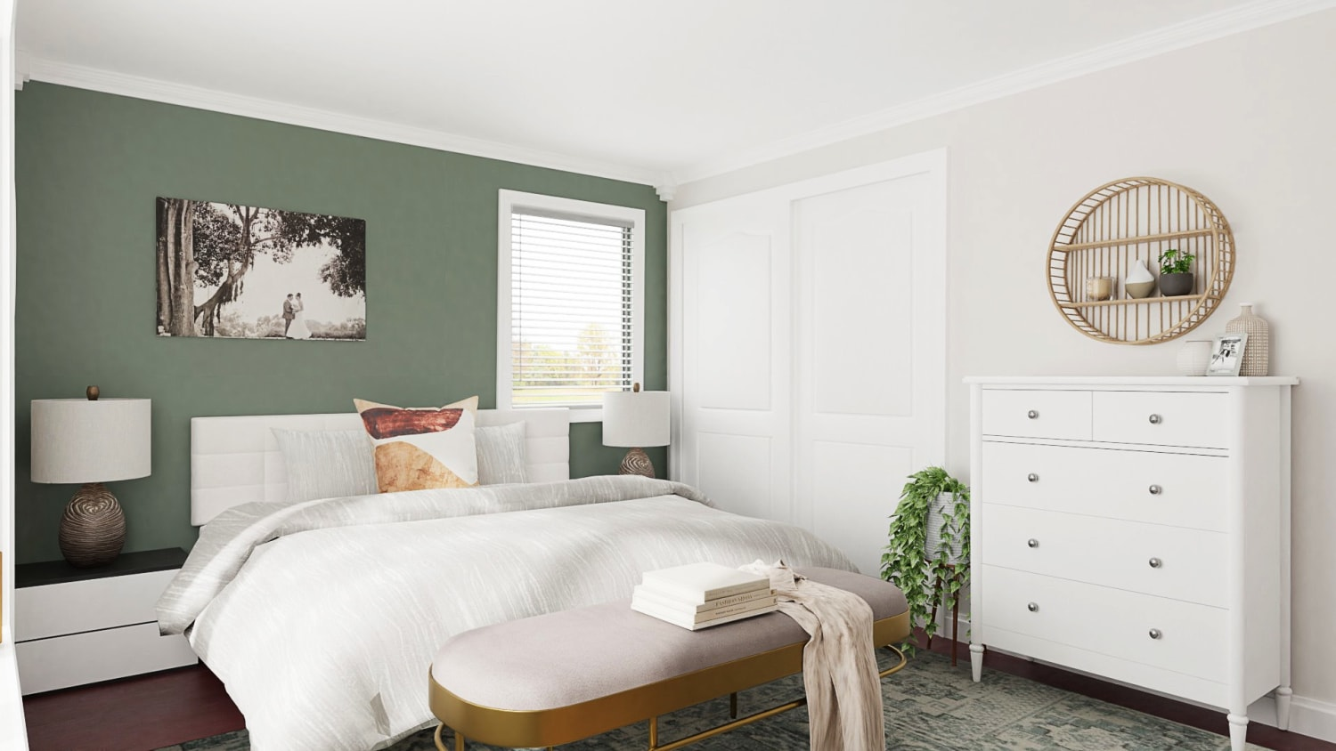 Glam Transitional Bedroom Design With Sage Green Accent Wall Design By Spacejoy