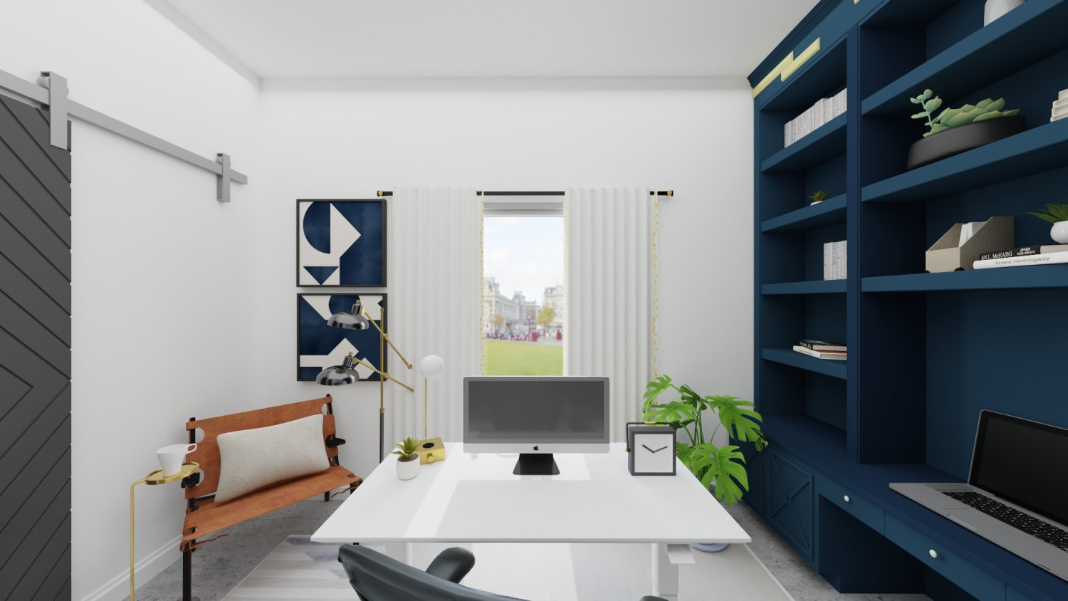 A Modern Home Office Design Featuring Peacock Blue Shelving Design By Spacejoy