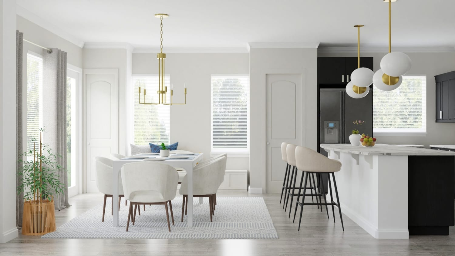 Monochromatic Color Palette: Modern Glam Dining Room Design By Spacejoy