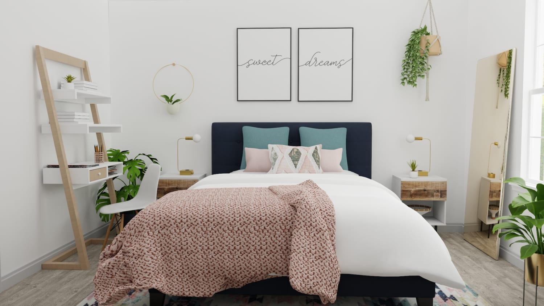Blush And Teal Modern Boho Bedroom Design By Spacejoy