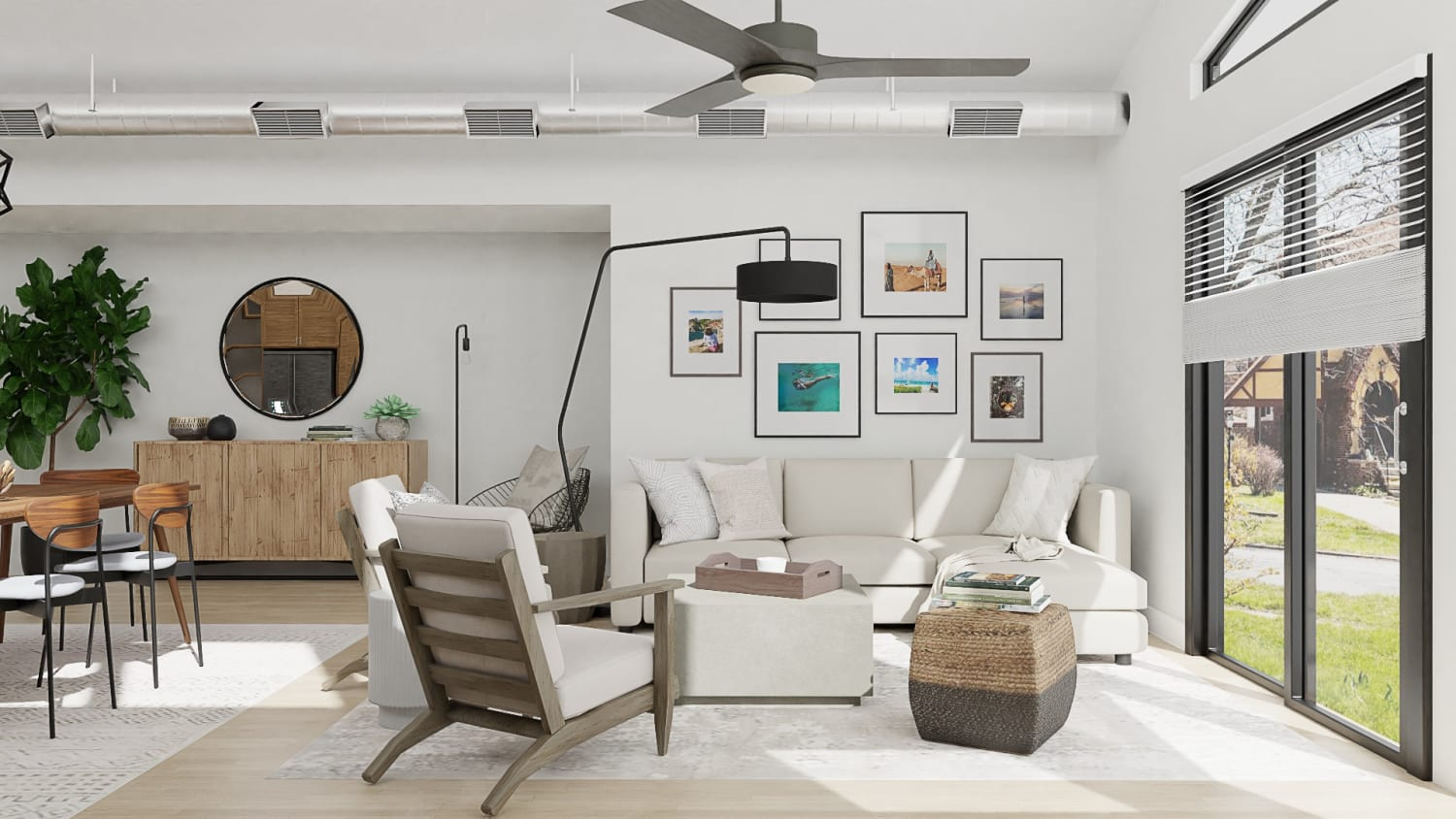 Get Inspiration From Open Plan Urban Modern Living And Dining Room Design By Spacejoy