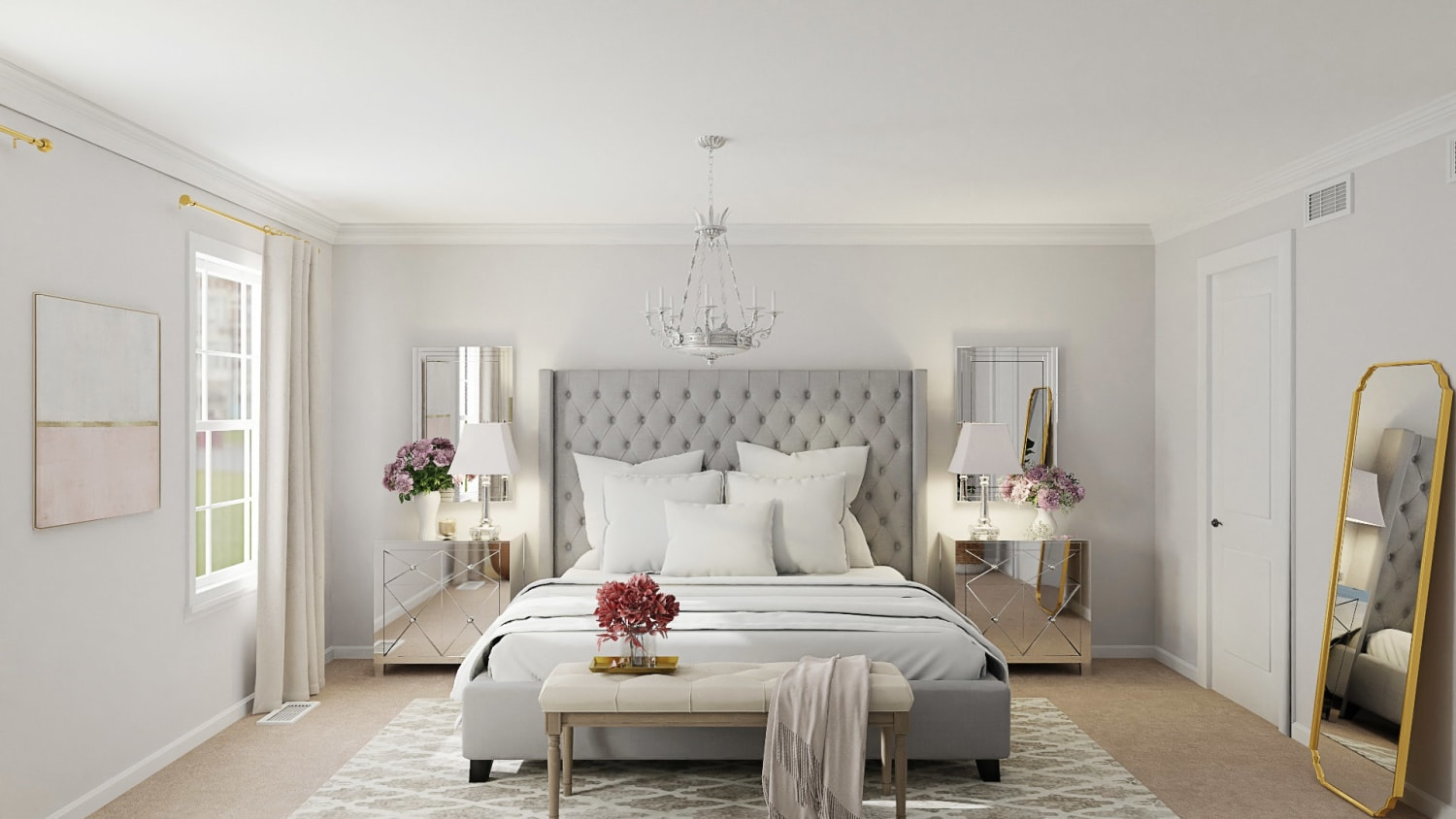 Elegant Glam Bedroom With Mirrored Furniture  Design By Spacejoy