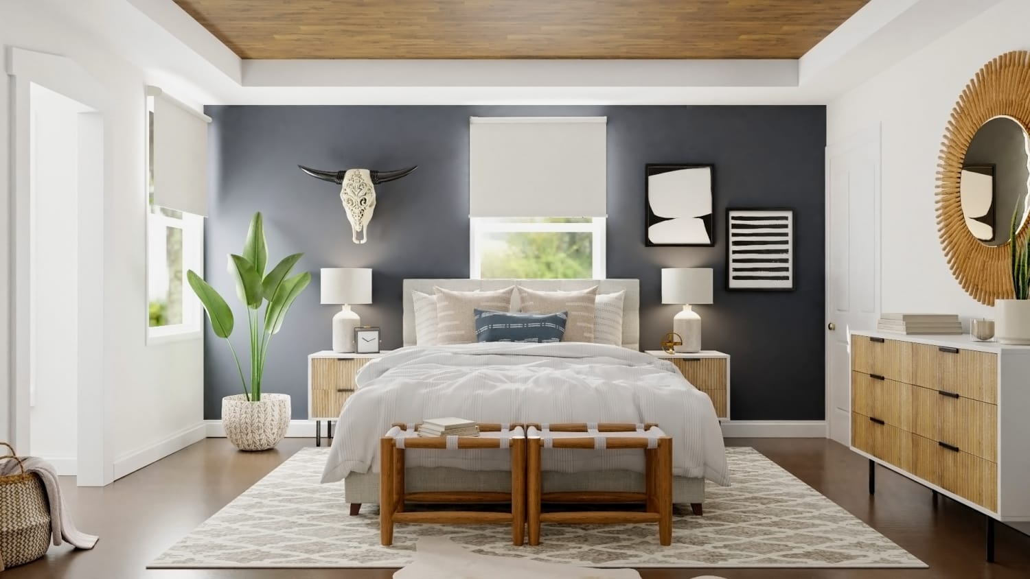 Mid Century Boho Bedroom Design With Warm Woods By Spacejoy