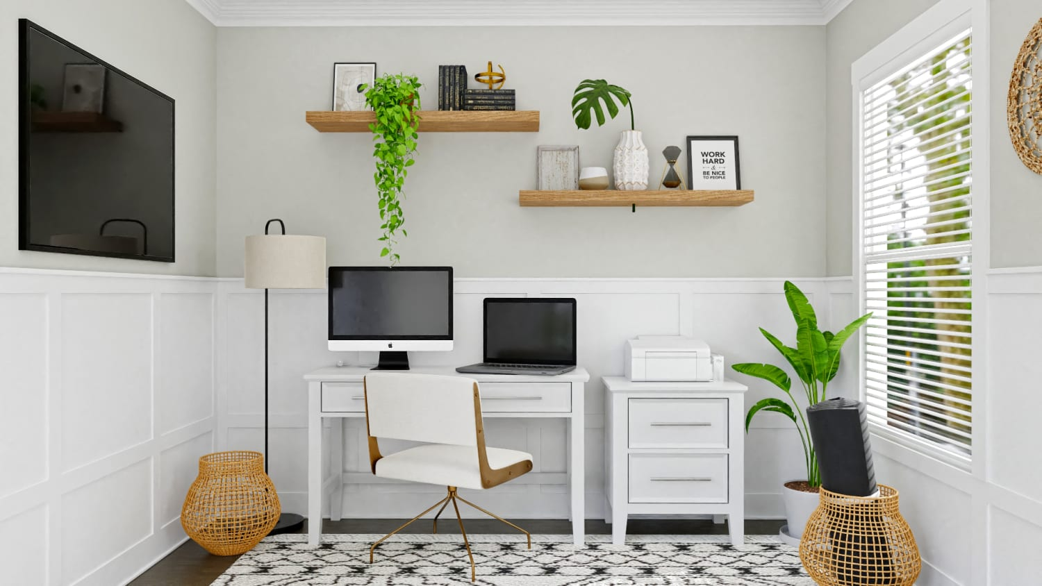 A Modern Boho Multi-Functional Home Office Design By Spacejoy