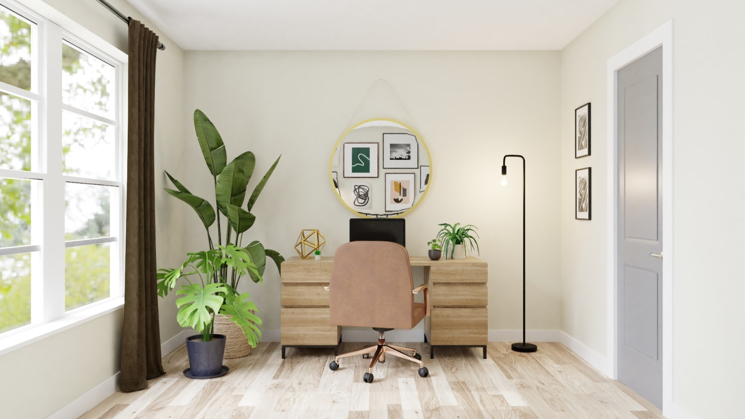 A Multi-Purpose Boho Glam Home Office Read for Virtual Meetings Design By Spacejoy