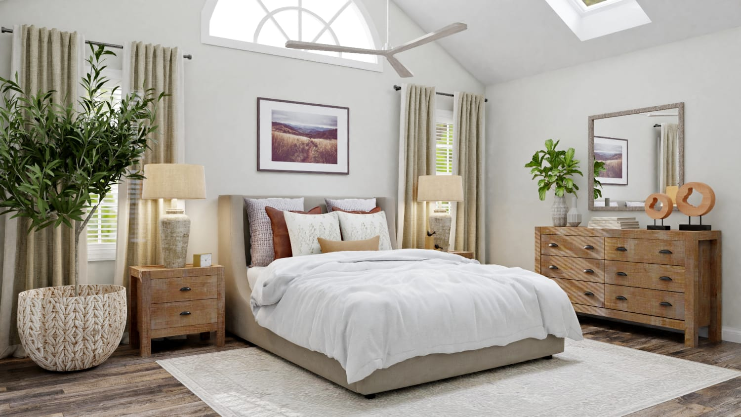 A Modern Transitional Bedroom Design with Nature Touches Design By Spacejoy