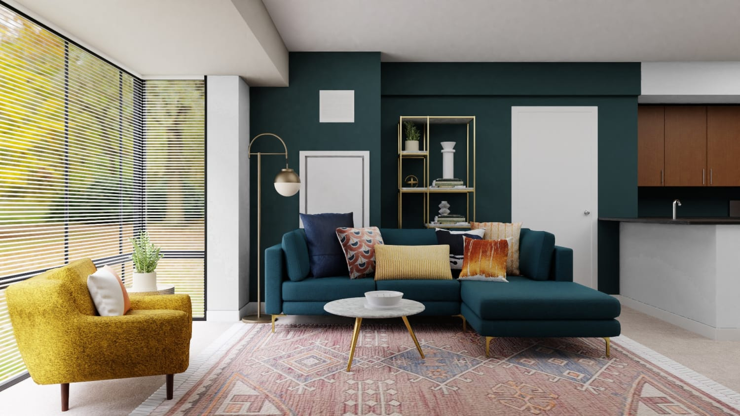 A Sophisticated Mid-Century Open Living Room Space Design By Spacejoy