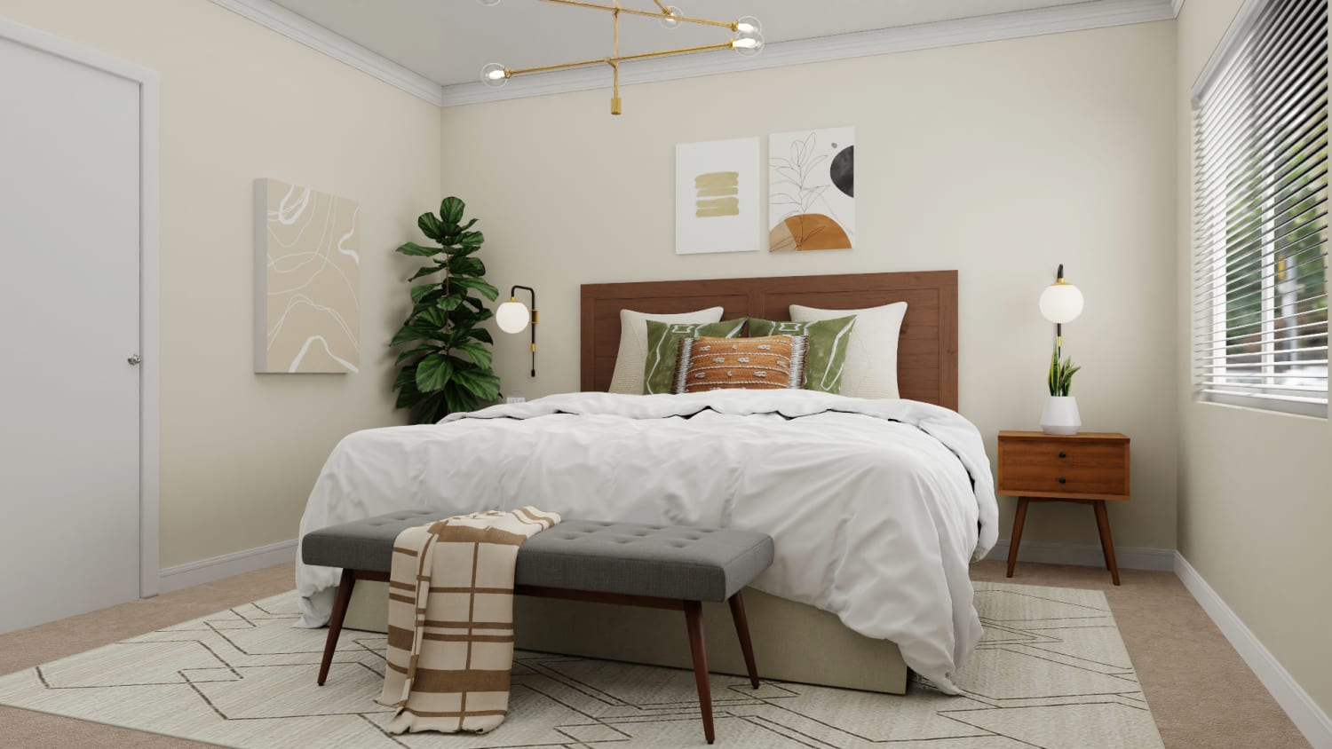 Minimalist Mid Century Bedroom With Boho Inspired Palettes By Spacejoy
