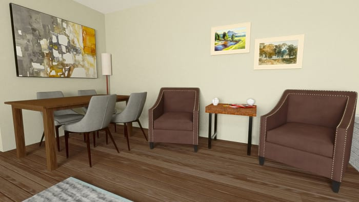 Mid-Century Classic Open Living Room with Dining Area Design View 4 By Spacejoy