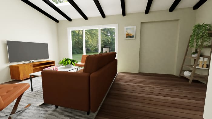 Mid-Century Classic Open Living Room with Dining Area Design View 3 By Spacejoy