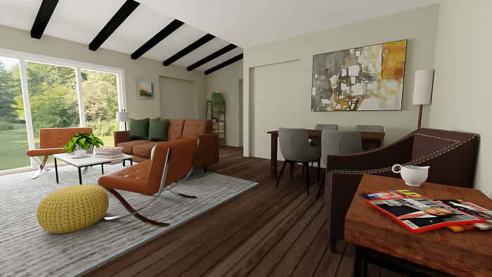 Mid-Century Classic Open Living Room with Dining Area Design View 2 By Spacejoy