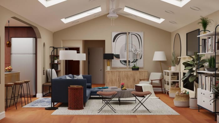 Kid-Friendly Living Room: Mid-Century Urban Design View 3 By Spacejoy