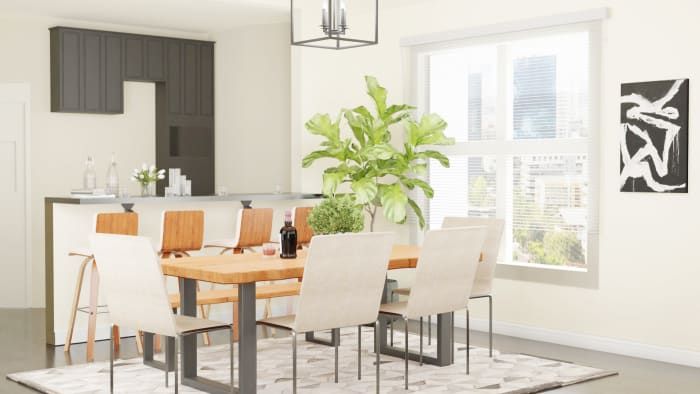 Airy Tones: Urban Farmhouse Dining Room Design View 3 By Spacejoy