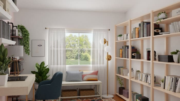 Extra Storage Space: Elegant Eclectic Office Design View 2 By Spacejoy