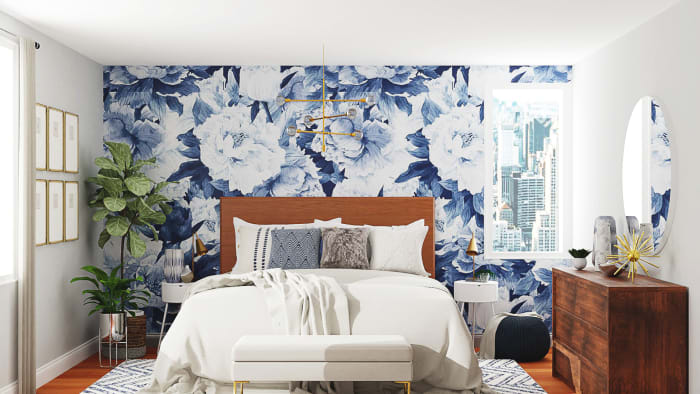Statement Floral Wallpaper: Mid-Century Contemporary Bedroom Design View 2 By Spacejoy