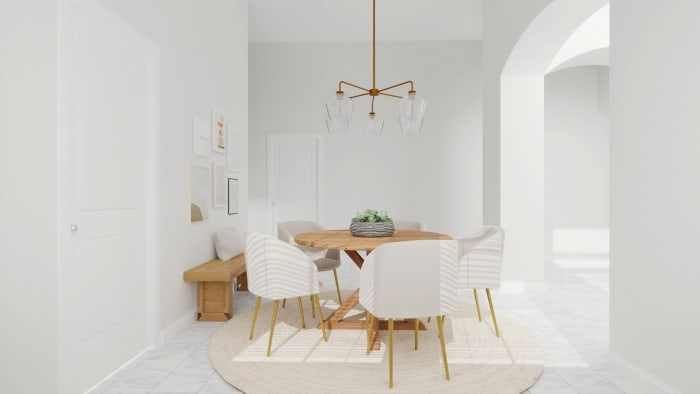 Gentle Neutrals: Mid-Century Minimalist Dining Room Design View 2 By Spacejoy