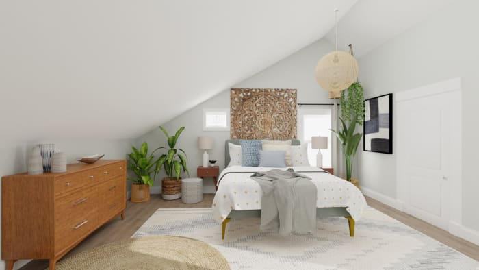 Soft and Earthy: Boho Minimalist Bedroom Design View 3 By Spacejoy