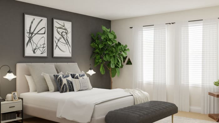 Modern Farmhouse Bedroom With Gray Accent Wall By Spacejoy