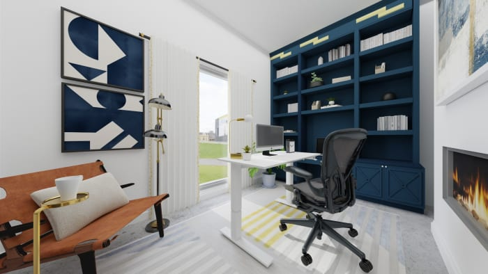 A Modern Home Office Design Featuring Peacock Blue Shelving Design View 2 By Spacejoy
