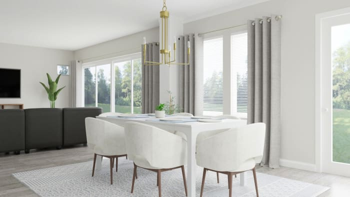 Monochromatic Color Palette: Modern Glam Dining Room Design View 2 By Spacejoy
