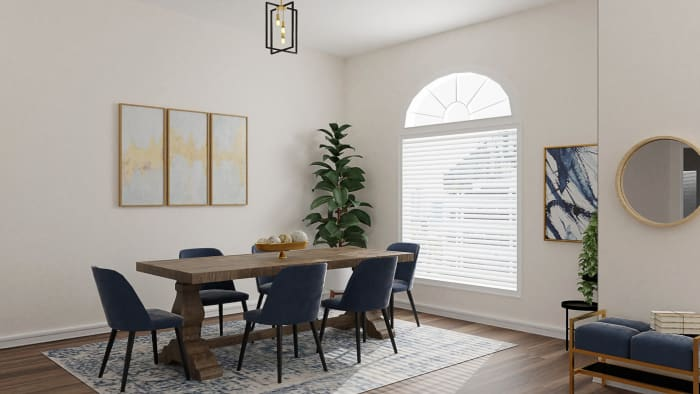 Large Seating Space Modern Traditional Dining Room Design By Spacejoy