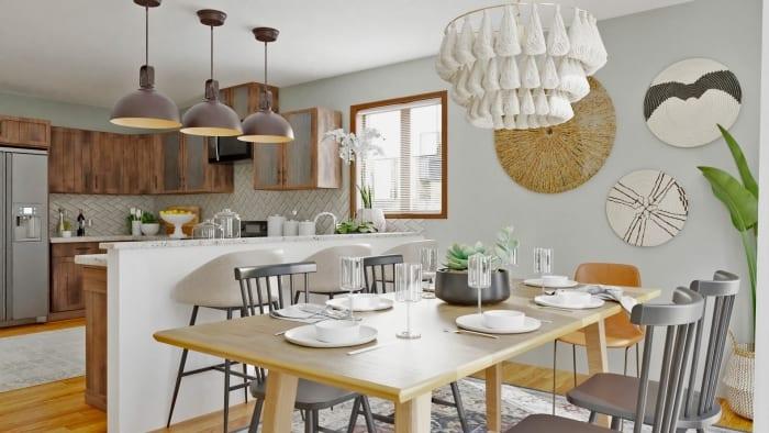 Rustic Boho Dining Room Custom Kitchen Design By Spacejoy