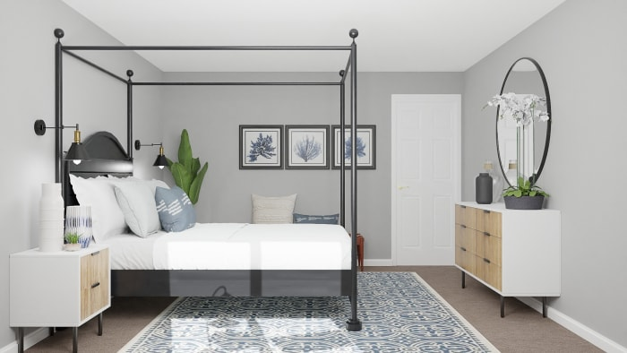 Home Office Coastal Master Bedroom Office Design Combo By Spacejoy