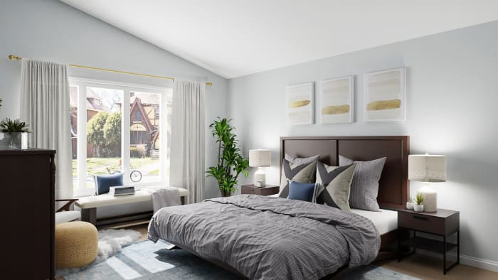 Urban Transitional Bedroom Design With Reading Nook By Spacejoy